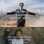 other memes Funny,  text: me being age—7 me now depressed with social anxiety anA•dumbass  Funny,