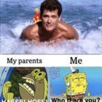 Spongebob Memes Spongebob, SpongeBob, Keanu Reeves, David Hasselhoff, Tiffanys text: My parents SELHOF Me Who  Spongebob, SpongeBob, Keanu Reeves, David Hasselhoff, Tiffanys