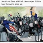 Political Memes Political, America, USA, British, Bible, Trump text: A cartoon from a British newspaper. This is how the world sees us.  Political, America, USA, British, Bible, Trump