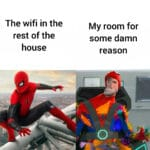 Dank Memes Dank, PC, Mbps, Laughs, Ethernet text: The wifi in the rest of the house My room for some damn reason  Dank, PC, Mbps, Laughs, Ethernet