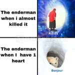 minecraft memes Minecraft, Stupid text: The enderman when i almost killed it A IOS The enderman when I have 1 heart Bonjour