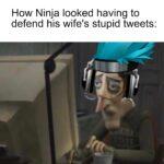 Dank Memes Dank, Ninja, Alinity, JessicaBlevins, Jess, Roblox text: How Ninja looked having to defend his wife