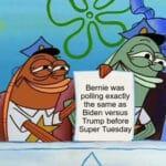 Political Memes Political, Biden, Bernie, Trump, Super Tuesday, Sanders text: o Bemie was polling exactly the same as Biden versus Trump before Super Tuesday  Political, Biden, Bernie, Trump, Super Tuesday, Sanders