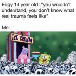 "Spongebob Memes Spongebob,  text: Edgy 14 year old: ""you wouldn"