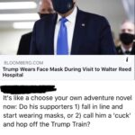 Political Memes Political, TnV0, PoliticalHumor, Putin, Donald text: BREAKING • 2 HRS BLOOMBERG.COM i Trump Wears Face Mask During Visit to Walter Reed Hospital It