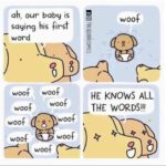 Wholesome Memes Wholesome memes, Dog text: ah, our babg is saging his first word woof woof woof woof woof woof 8 woof woof HE KNOWS ALL THE WORDS!!!  Wholesome memes, Dog