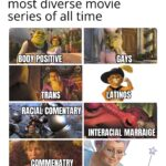 Dank Memes Dank, Shrek, Spain, Latino, Spanish, Boots text: Why Shrek is one of the most diverse movie series of all time BODY POSITIVE 01SON TRANS COMMENATRY 0N PRIVLEGE INTERACIAL MARRAIGE MILFS  Dank, Shrek, Spain, Latino, Spanish, Boots