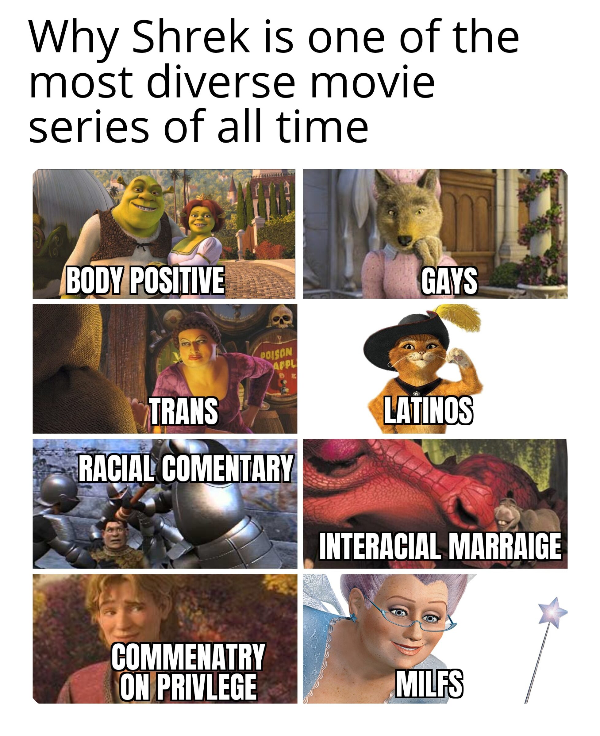 Dank, Shrek, Spain, Latino, Spanish, Boots Dank Memes Dank, Shrek, Spain, Latino, Spanish, Boots text: Why Shrek is one of the most diverse movie series of all time BODY POSITIVE 01SON TRANS COMMENATRY 0N PRIVLEGE INTERACIAL MARRAIGE MILFS