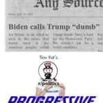 "Political Memes Political, Truly text: Anu Sgttrtr Friday. July 10. 2020 Biden calls Trump ""dumb"" Joe Biden. in an effort to Trump dumb. Truly a hero Rev stick to the issues that for the Democratic Party. foll matter most to the We couldn"
