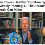 Political Memes Political,  text: Biden Proves Healthy Cognition By Flawlessly Reciting All The Sounds Animals Can Make  Political,