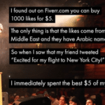 """Dank Memes Hold up, HolUp, Wheel, Spin, TNkvvD, Arabs text: I found out on Fiverr.com you can buy 1000 likes for $5. The only thing is that the likes come from the Middle East and they have Arabic names. So when I saw that my friend tweeted """"Excited for my flight to New York City!"""" I immediately spent the best $5 of my life. 1  Hold up, HolUp, Wheel, Spin, TNkvvD, Arabs"""
