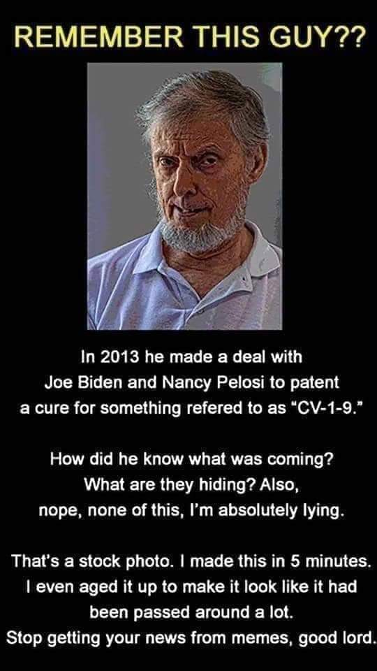 Dank, Facebook, JPEG, Reddit, Lincoln, Trump Dank Memes Dank, Facebook, JPEG, Reddit, Lincoln, Trump text: REMEMBER THIS GUY?? In 2013 he made a deal with Joe Biden and Nancy Pelosi to patent a cure for something refered to as