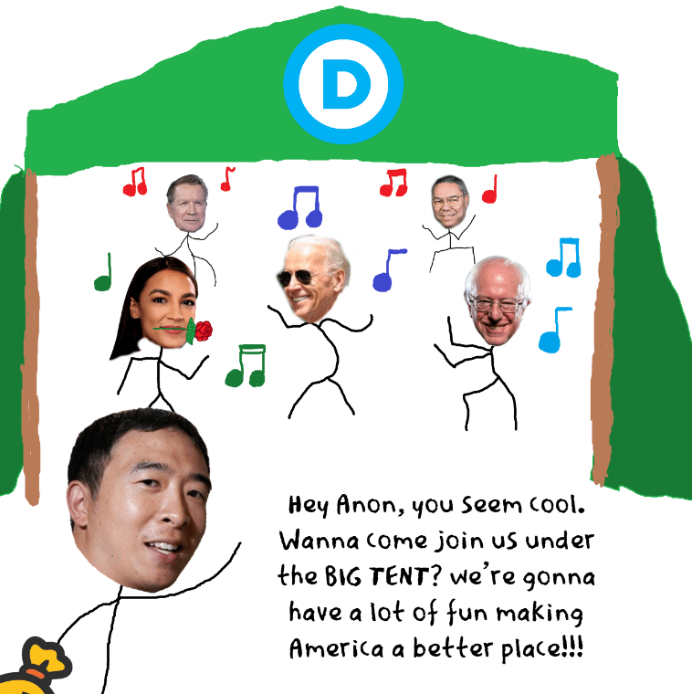 Politics Political memes Politics text: D Hey anon, you Seem cool. Wanna come join us under khe BIG TENT? vqe're gonna have Q 10k Of fun making amerjca a beeer place!!!