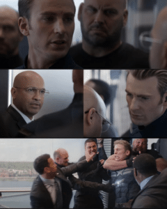 Captain America Whispering then Fighting (blank) Opinion meme template