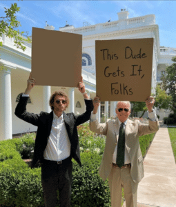 Biden and Dudewithsign holding signs Holding Sign meme template