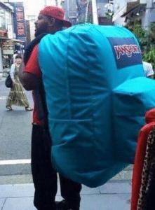 Man carrying big backpack Black Twitter meme template