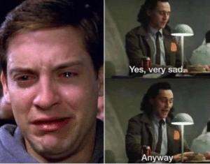 Crying Peter Parker and Loki Sad meme template