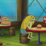 Fish eating burgers while couple look at each other Spongebob meme template blank