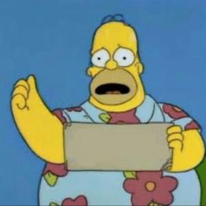 Fat homer sad holding sign Opinion meme template