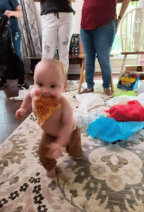 Baby running with pizza Food meme template