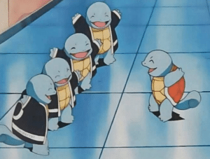 Squirtle meeting with Squirtle Squad Meeting meme template