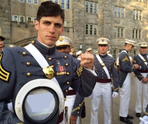West Point grad holding sign Holding Sign meme template
