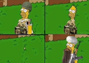 Homer as soldier going into bushes Gun meme template