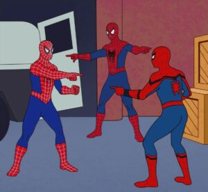 Three Spiderman pointing at each other 4305,4293,4313,4318,4320,4321,4326,4385,4384,4254,4367,4364,4359,4358,4334,4254 popular meme template
