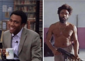 Donald glover before and after with gun Gun meme template