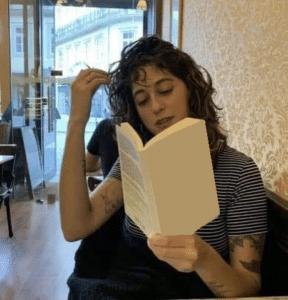 Woman reading book (blank) Opinion meme template
