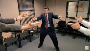 The Office Pointing Finger Guns at Each Other Gun meme template