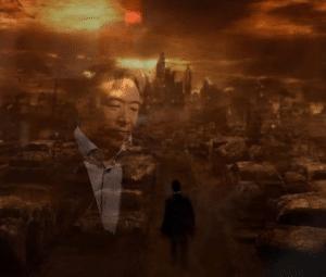 Andrew Yang in burning city Sad meme template