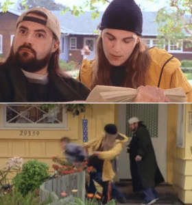 Jay and Silent Bob 'It says here…' Opinion meme template