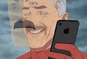 Omni-man looking at phone Sad meme template