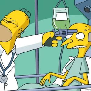 Homer holding gun to Mr. Burns head Gun meme template