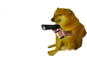 Doge with gun Gun meme template