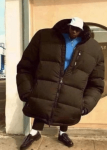 Man with giant coat Black Twitter meme template
