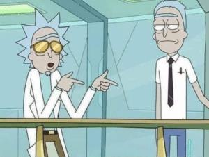 Cool Rick pointing at boring Rick Gun meme template