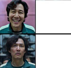 Squid Game happy vs. sad Sad meme template